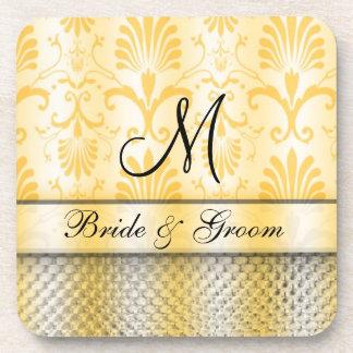Gold Damask Pattern Monogram Wedding Drink Coaster