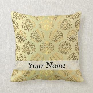Gold damask pattern throw pillow