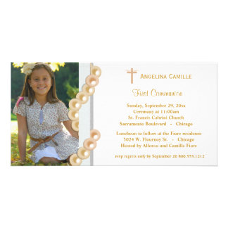 Gold Damask Pearls First Communion Photo Invite