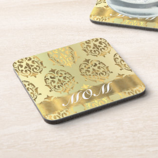Gold damask personalized mother drink coaster