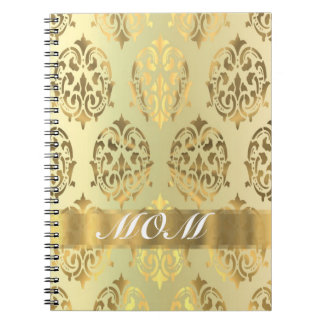 Gold damask personalized mother notebook