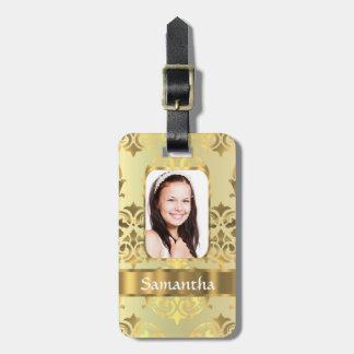 Gold damask photo border luggage tag