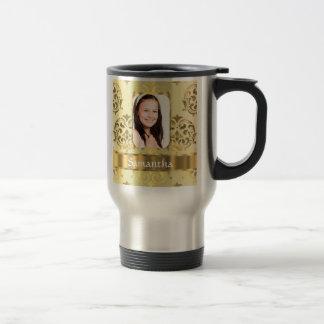 Gold damask photo border travel mug