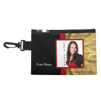 Gold damask photo template accessory bag