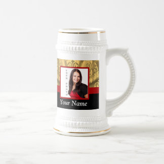 Gold damask photo template beer stein