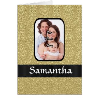 Gold damask photo template card