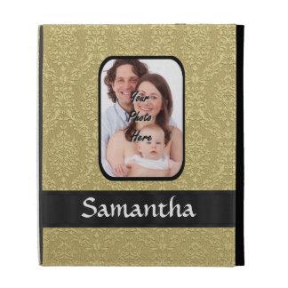 Gold damask photo template iPad folio cases