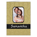 Gold damask photo template greeting card