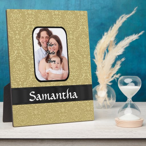 Gold damask photo template photo plaques