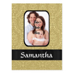Gold damask photo template post cards