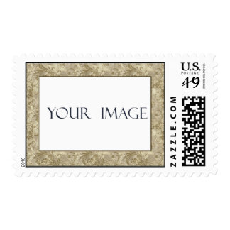 Gold Damask Photo Template Postage