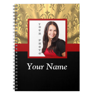 gold damask photo template spiral note books