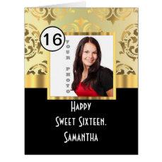 Gold damask photo template sweet sixteen