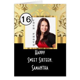 Gold damask photo template sweet sixteen card