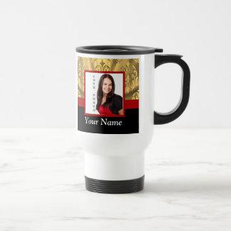 Gold damask photo template travel mug