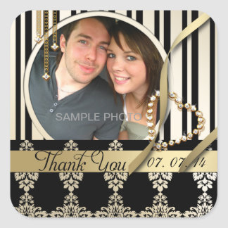 Gold Damask Photo Thank You Wedding Labels