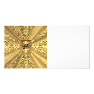Gold damask custom photo card