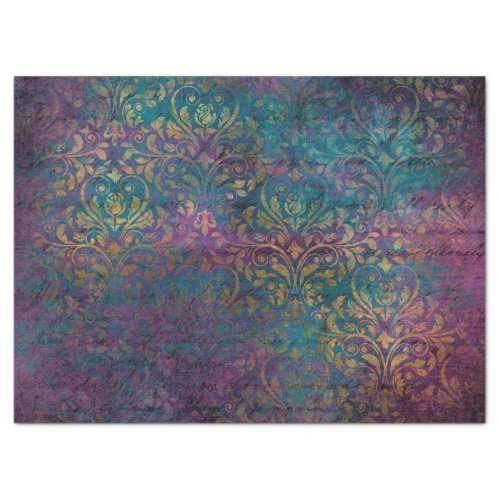 Gold Damask Purple Pink Teal Decoupage Tissue Paper