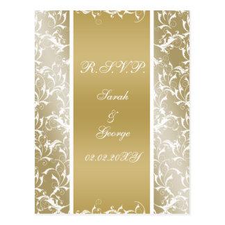 gold damask RSVP cards