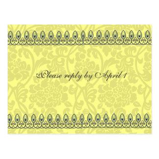 Gold Damask rsvp Postcard