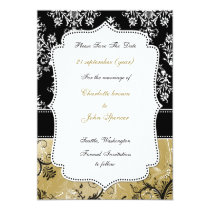 gold damask save the date announcement