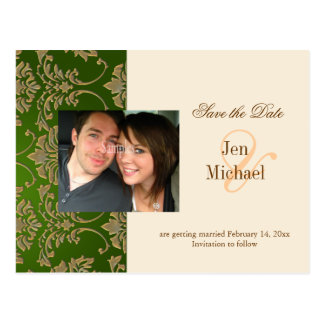 Gold damask, Save the Date Photo postcards,
