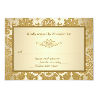 Gold Damask, Scroll 50th Anniversary Reply Card