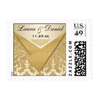 Gold Damask Scroll Wedding Save The Date Postage