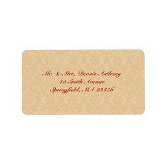 Gold Damask Shipping Address Label