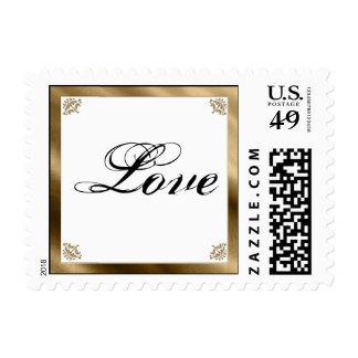Gold Damask Silk Posh Postage Stamp