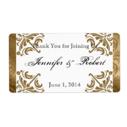 Gold Damask Silk Posh Water Bottle Label