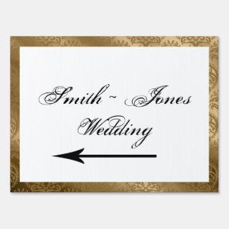Gold Damask Silk Posh Wedding Direction Sign