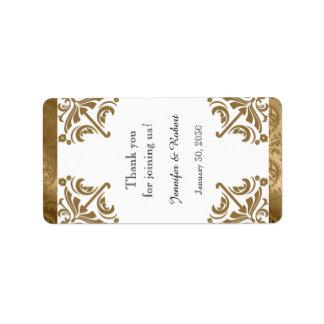 Gold Damask Silk Posh Wedding Lip Balm Label Address Label