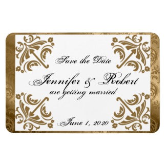 Gold Damask Silk Posh Wedding Save the Date Magnet