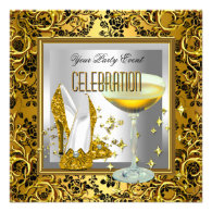 Gold Damask Silver High Heel Shoes Champagne Personalized Invitation