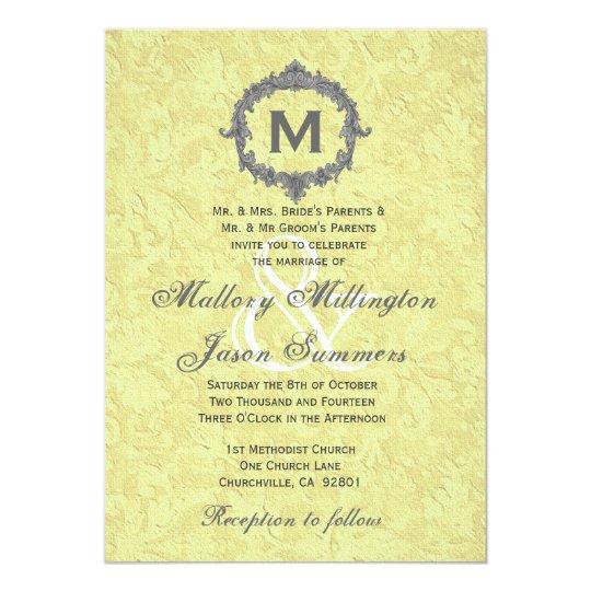 Gold Damask Silver Vintage Frame Monogram Wedding Card