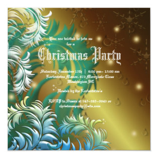 """Gold Damask Snowflakes Christmas Party Invitation 5.25"""" Square Invitation Card"""