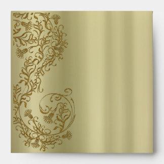 Gold damask Square Invitation Envelopes