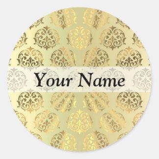 Gold damask classic round sticker