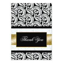 gold damask Thank You Card