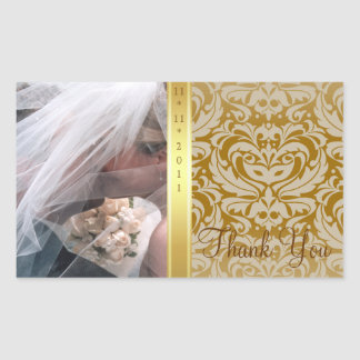 Gold Damask Thank You Photo Wedding Sticker