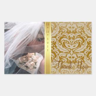 Gold Damask Thank You Photo Wedding Sticker