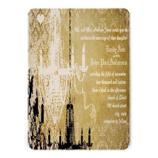 Gold Damask Vintage Chandelier Wedding Invitation