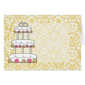 Gold Damask Wedding Cake Card