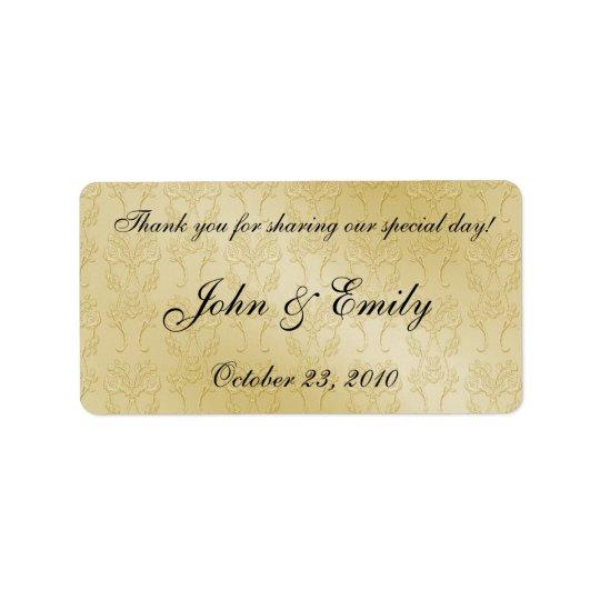 gold damask wedding favor labels