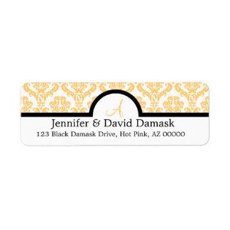 Gold Damask Wedding Monogram Labels {not metallic}
