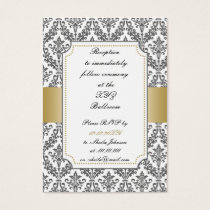 gold damask wedding Reception   Cards