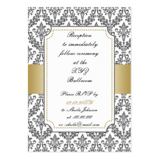gold damask wedding Reception   Cards Large Business Cards (Pack Of 100)