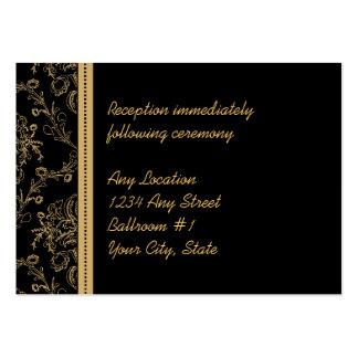 Gold Damask Wedding Reception Cards Large Business Card