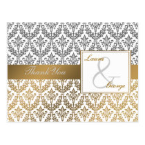 gold damask wedding Thank You Postcard